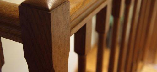 Detalle barandilla de madera .